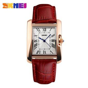 SKMEI 1085 Women's Fashion Luxury Retro Quartz Watches Analog Display Waterproof Women Casual Dress Wrist Watch - Red - intl