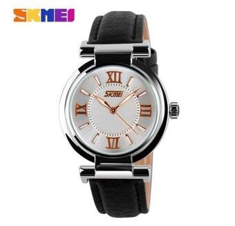 SKMEI 9075 Fahsion Women's Leather Watch Quartz Watch Waterproof Digital Wristwatch - Black - intl