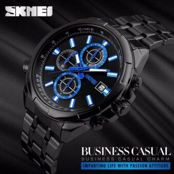 2561 SKMEI 9107 นาฬิกาข้อมือผู้ชาย ระบบอนาล็อก โคโนกราฟ สายสแตนเลส สไตส์สปอร์ตสุดเท่ห์