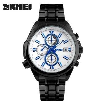 ราคา SKMEI 9107 นาฬิกาข้อมือผู้ชาย ระบบอนาล็อก โคโนกราฟ สายสแตนเลส สไตส์สปอร์ตสุดเท่ห์