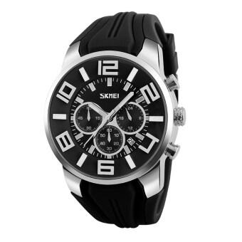 ราคา SKMEI 9128 นาฬิกาข้อมือผู้ชาย ระบบกลไกควอตซ์ โคโนกราฟ สไตส์สปอร์ต สายซิลิโคนสีดำ หน้าปัดตัวเลขสีดำ