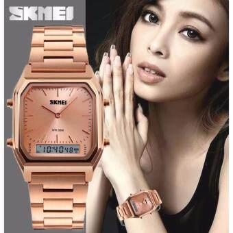 SKMEI นาฬิกาข้อมือผู้หญิง สไตล์ Casual Bussiness Watch ใช้งานได้ 2 ระบบ ทั้ง Analog และ Digital จับเวลา ตั้งปลุก กันน้ำ สายแสตนเลสสีโรสโกลด์ รุ่น SK-M1220 สีนาค (Rose Gold)