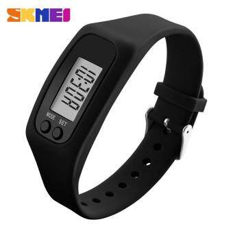 SKMEI Fashion Women Sports Watches Pedometer Calorie Sport Mileage Digital Watch Girl Colorful Silicone Strap Wristwatches 1207 - Black - intl