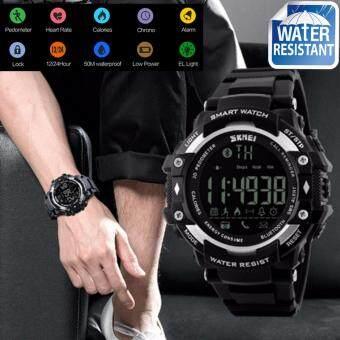 SKMEI นาฬิกาข้อมือผู้ชาย สไตล์ Fitness trackes Sport Digital Smart Watch วัดก้าวเดิน วัดอัตราการเต้นของหัวใจ วัดแคลอรี่ จับเวลา นาฬิกาปลุก ใช้งานได้จริง LED ส่องสว่าง สายเรซิ่นสีดำ รุ่น SK-M1180 สีดำ (Black)