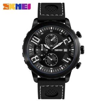 SKMEI ชายกีฬานาฬิกา 30 เมตรกันน้ำปฏิทินนาฬิกาข้อมือควอตซ์สายนาฬิกาซิลิโคน 9153 สีดำ
