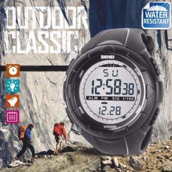 SKMEI ของแท้ 100% ส่งในไทยไวแน่นอน นาฬิกาข้อมือผู้ชาย สไตล์ Sport Digital Watch บอกวันที่ ตั้งปลุก จับเวลา ตัวเลข LED ใหญ่ ชัดเจน กันน้ำ สายเรซิ่นสีดำ รุ่น SK-M1025 สีเทา (Grey)