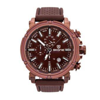 2561 SKONE 5148EG นาฬิกาข้อมือผู้ชายทรงสปอตใส่สบาย แสดงผลแบบอะนาล็อก สีกาแฟ
