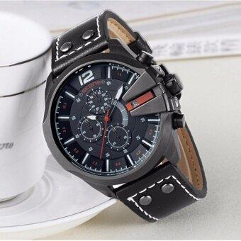 ประเทศไทย SKONE 9030EG นาฬิกาข้อมือผู้ชายทรงสปอร์ต แสดงผลแบบอะนาล็อก สายหนังสีดำ