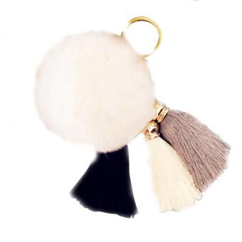 Soft Cute Rabbit Fur Ball PomPom Cell Phone Car Pendant Handbag KeyChain Ring White