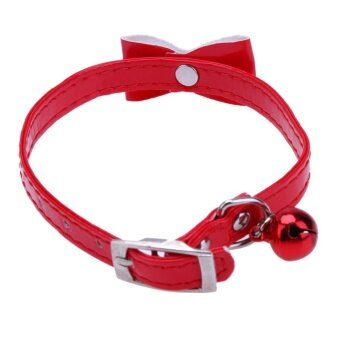 Solid Color Pet Necklace Safety Collar with Bell Dogs Cats Puppy Cute Gift(Red) - intl