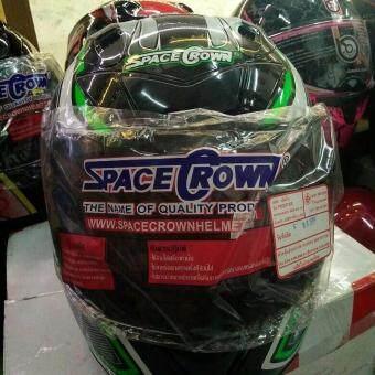 Space Crown หมวกกันน็อค รุ่น FIGHTER-STK NO.19 (เขียวดำ)
