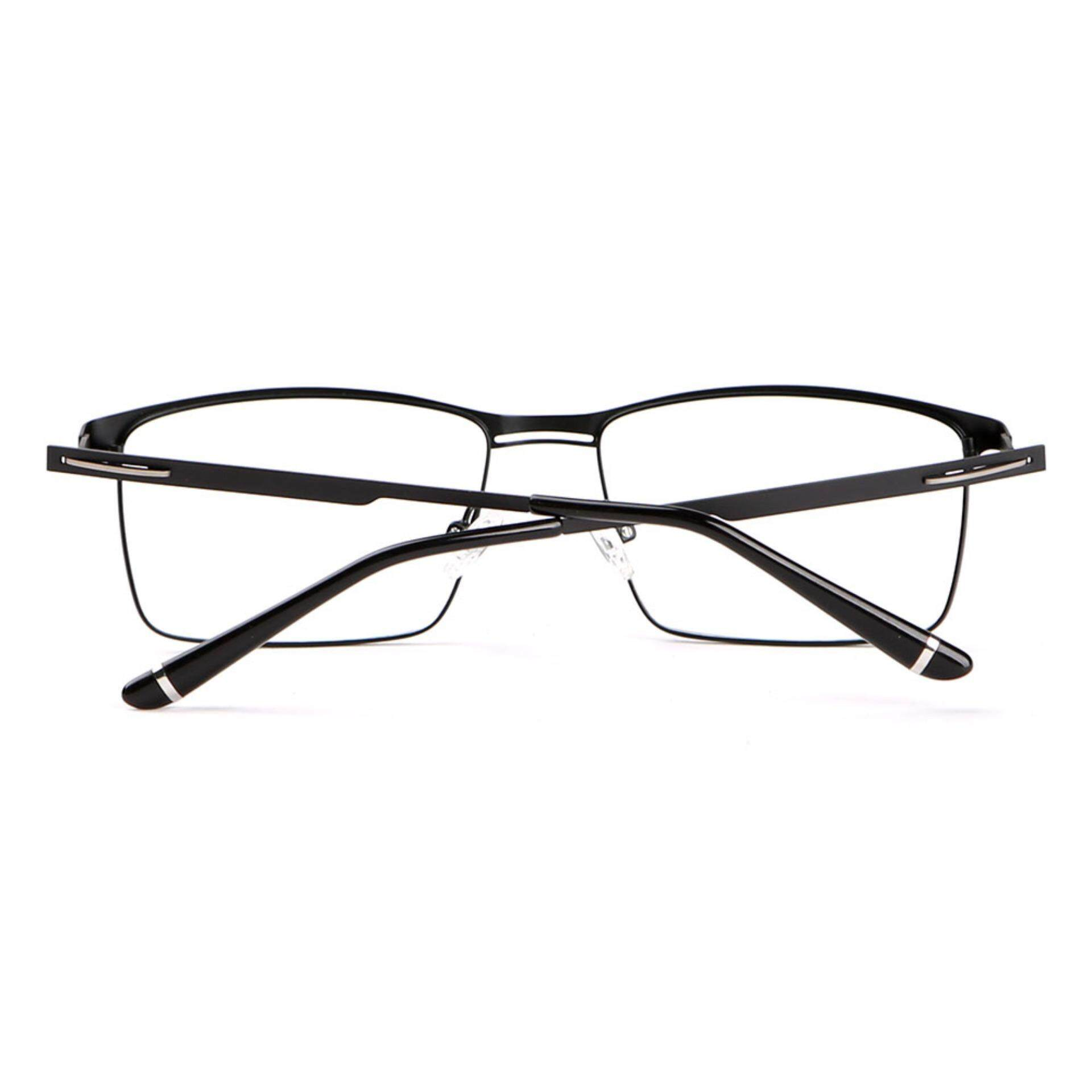 Stallane Optical Myopia Frame Metal Glasses Fashion Spectacle Eyewear Business Eyeglasses for Men (Black)