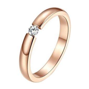 Stylish Simplicity Single Diamond Rose Gold Surface Couple Rings