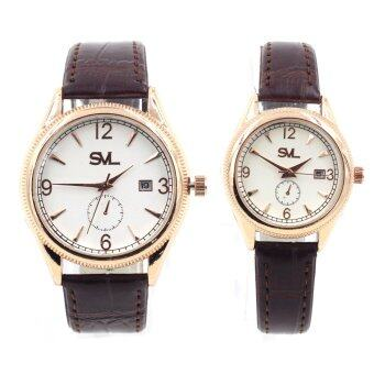 SVL นาฬิกาข้อมือคู่รัก (กันน้ำ) ระบบวันที่ - 9235-8163 (Brown/Rose Gold)