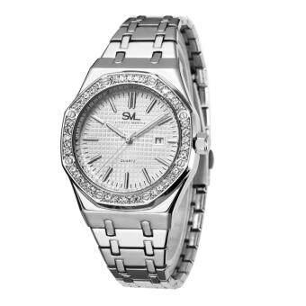 SVL Date Quartz นาฬิกาข้อมือผู้ชาย มีวันที่ กันน้ำ 100% รุ่น GP80333-D (Silver-M) แถมซองนาฬิกาสุดหรู - 2