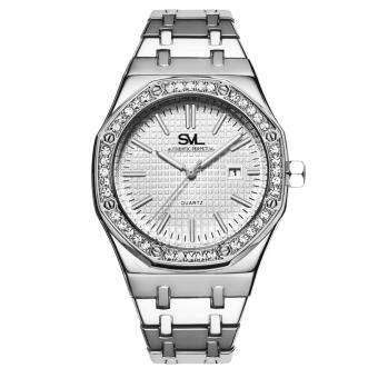 SVL Date Quartz นาฬิกาข้อมือผู้ชาย มีวันที่ กันน้ำ 100% รุ่น GP80333-D (Silver-M) แถมซองนาฬิกาสุดหรู