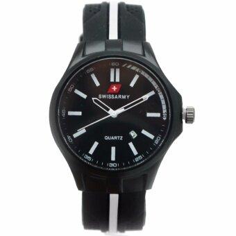 Swiss Army นาฬิกาข้อมือผู้ชาย ดูวันที่ได้ สายดีไซน์สวย สไตล์ Racing สายเรซิ่นสีดำ รุ่น ZD-0122 สีแดง (Red)