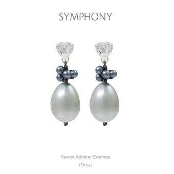 Harga SYMPHONY ต่างหูมุก Secret Admirer Earrings (Light Grey)