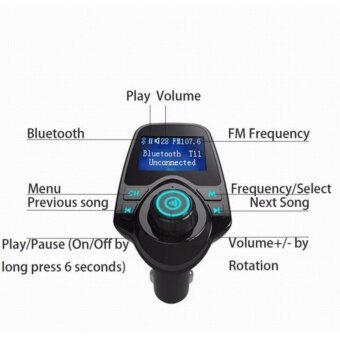T11 Car Kit Wireless Bluetooth เครื่องเล่นเพลง บลูทูธติดรถยนต์ เขื่อมต่อมือถือกับรถยนต์ รุ่นท็อป มีหน้าจอใหญ่ มองชัด