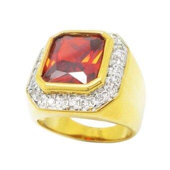 TanGems แหวนผู้ชายพลอยสี่เหลี่ยมโกเมนประดับล้อมเพชรจิกไข่ปลา รุ่น2243 (ทอง/โกเมน/เพชร)