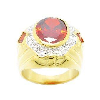 TanGems แหวนผู้ชายพลอยโกเมนประดับเพชรล้อม รุ่น 2321(ทอง/โกเมน/เพชร) - 2