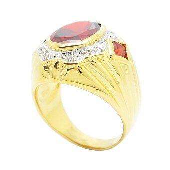 TanGems แหวนผู้ชายพลอยโกเมนประดับเพชรล้อม รุ่น 2321(ทอง/โกเมน/เพชร) - 4