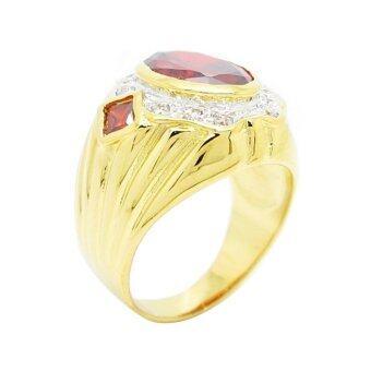 TanGems แหวนผู้ชายพลอยโกเมนประดับเพชรล้อม รุ่น 2321(ทอง/โกเมน/เพชร) - 5