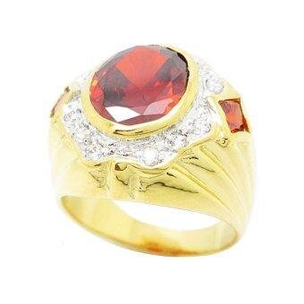 TanGems แหวนผู้ชายพลอยโกเมนประดับเพชรล้อม รุ่น 2321(ทอง/โกเมน/เพชร) - 3