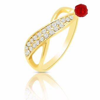 TB แหวนทองฝังเพรช Swarovski 22 เม็ด Size 17 ( Yellow Gold Color )