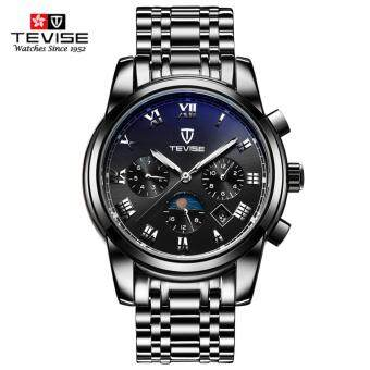 TEVISE Top Brand Mechanical Watch Luxury Men Business WatchsStainless Steel Band 3ATM Waterproof Moon Phase Calendar FunctionMens Famous Male Watches Clock For Men Wrist Watch - intl