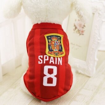 TF New Pet Dog World cup clothing Ventilation Breathable Comfortable Teams Clothes(Red-XXL) - intl
