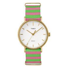Timex นาฬิกาข้อมือผู้หญิง รุ่น TW2P91800 Fairfield Mid-Size (สีชมพู/เขียว)