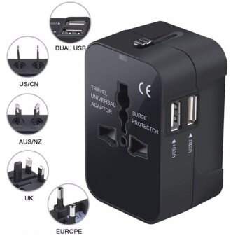 Travel Adapter, Universal All in One Worldwide Travel Plug AdapterWall Charger AC Power Adaptor Charger with Dual USB Charging Portsfor USA Eu Uk AUS Plug Adapter - intl