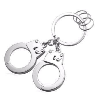 U7 Metal Pair Police Handcuffs Keychain Pendant Key Chain for Men Keyring Holder Fashion Gold/Black Gun/Platinum Plated Perfect Accessories (Gold/Black/Silver) - intl