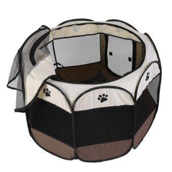 UINN พับพับกันน้ำแปดเหลี่ยมสัตว์เลี้ยงสุนัขแมวสุนัขรั้ว Oxford เต็นท์กรงสีขาวและสีกาแฟ 91x91x58cm