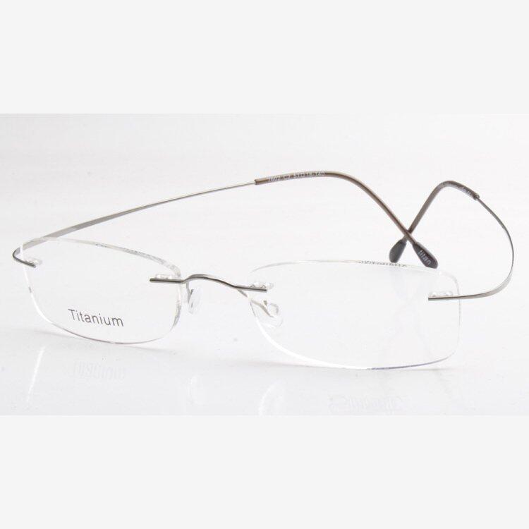 Ultra-light Titanium Rimless Eyeglasses Frame Plain lens (Gray)