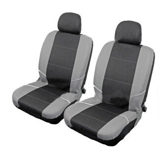 universal front car seat headrest washable covers protectors 2pcs black grey. Black Bedroom Furniture Sets. Home Design Ideas
