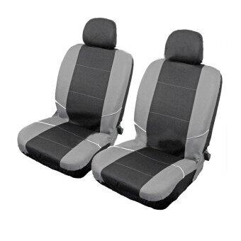 universal front car seat headrest washable covers protectors 2pcs black grey. Black Bedroom Furniture Sets. Home Design Ideas