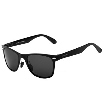 VEITHDIA 2140 Fashion Driving Polarized Sunglasses for Men Aluminum-magnesium Black frame Grey lens (Intl)