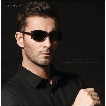 VEITHDIA 2458 ชายแว่นกันแดดโพลาไรซ์สีดำกรอบสีเทาเลนส์ (image 2)