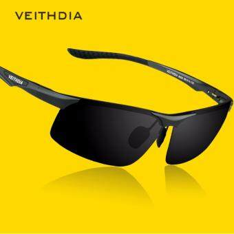 VEITHDIA 6502 หนุ่มแว่นกันแดดโพลาไรซ์สีดำกรอบสีเทาเลนส์