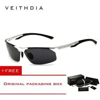 VEITHDIA อะลูมิเนียมแมกนีเซียมสนามแม่เหล็กดวงอาทิตย์กรอบแว่นตาแว่นกันแดดขับรถสุขาแว่นตาอุปกรณ์กีฬาสำหรับผู้ชายผู้ชาย 6591 (Gray/ สีเทา)