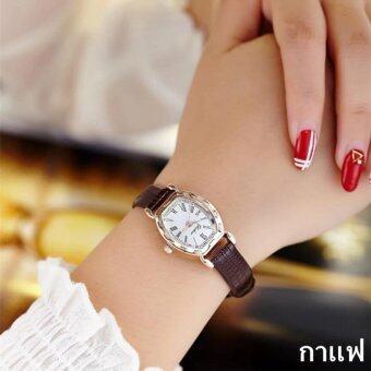 แฟชั่นผู้หญิง Watch นาฬิกาข้อมือผู้หญิง สายหนังพียู รุ่น (brown)