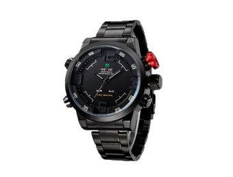 ราคา WEIDE บุรุษนาฬิกาข้อมือแสดงผลเวลากีฬาคู่ (สีดำ & ขาว
