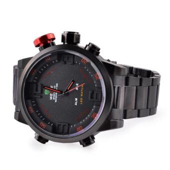 WEIDE WH2309 สเตนเลสผลึกคล้ายคลึงกีฬา+นาฬิกาข้อมือแบบดิจิทัลกับปฏิทิน+ตื่นตระหนก-สีดำ