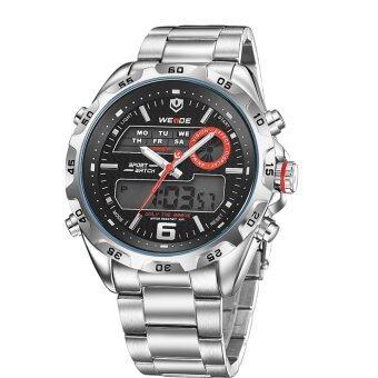 WEIDE WH-3403 คล้ายคลึงคนจรสเตนเลสดิจิตอลนาฬิกาข้อมือกันน้ำ-สีดำ+เงิน