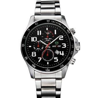 WEIDE WH3308คนกีฬาของนาฬิกากันน้ำรัดผลึกสเตนเลส-เงิน+สีดำ (ในประเทศ)