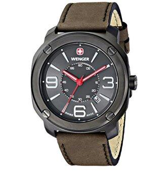 Wenger Men's 01.1051.104 \Escort\ Stainless Steel Watch with Brown Leather Band - intl