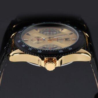 Winner 593 นาฬิกาข้อมือผู้ชาย ระบบกลไกแบบออโตเมติก สไตส์คลาสสิกวินเทจ หรูหรา สายหนัง หน้าปัดสีทอง - 4