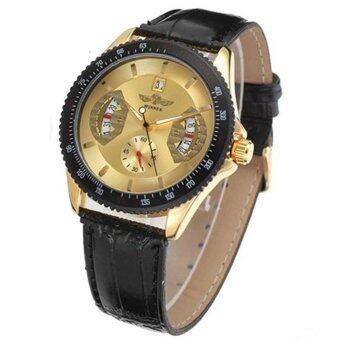 Winner 593 นาฬิกาข้อมือผู้ชาย ระบบกลไกแบบออโตเมติก สไตส์คลาสสิกวินเทจ หรูหรา สายหนัง หน้าปัดสีทอง - 3